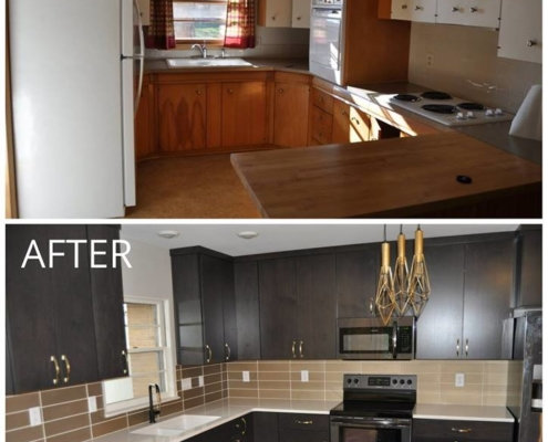 Before & After of Kitchen Backsplash & Floor